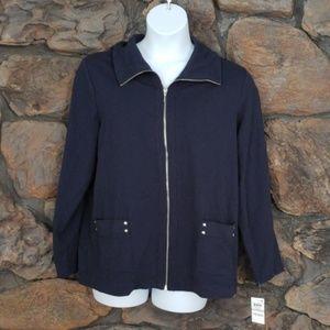 Karen Scott sport blue zipper jacket 1X navy NWT